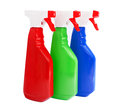 Cleaning products bottles isolated on white group of three house solutions containers Stock Photography