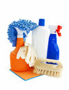 Cleaning products isolated on white assortment of Royalty Free Stock Photography