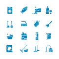 Cleaning products and services silhouette vector icons. Washing supplies and housework black symbols