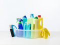 Cleaning products and supplies Royalty Free Stock Photo