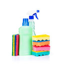 Cleaning and sanitation products isolated on white background Royalty Free Stock Photography