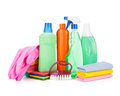 Cleaning and sanitation products studio isolated on white background Royalty Free Stock Photo