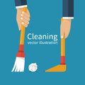 Cleaning service, broom and dustpan