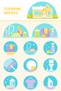 Cleaning Service, Cleaning Agents and Tools Illustrations and Icons Vector Set Royalty Free Stock Photo