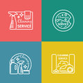 Cleaning service labels in linear design style