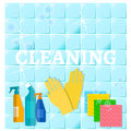 Cleaning service sanitation and hygiene cleaners yellow glove