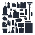 Cleaning service silhouettes. Set house cleaning tools, detergent and disinfectant products, household equipment for Royalty Free Stock Photo
