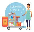 Cleaning service staff, janitor with trolley full of supplies and household equipment tools. Vector icons