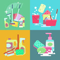 Cleaning service vector concept background set