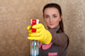 Cleaning servisce cleaner work in rubber gloves Royalty Free Stock Photo