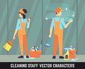 Cleaning staff vector characters woman and man with tools