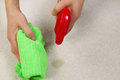 Cleaning stain in carpet horizontal photo of female hands with spray bottle and microfiber cloth Stock Photo