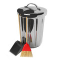 Cleaning storage of trash garbage broom Royalty Free Stock Photo