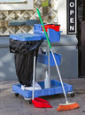 Cleaning the streets jobs set broom rubbish pail and dust pan Royalty Free Stock Photos