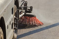 Cleaning streets special car cleans the street Royalty Free Stock Image