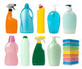 Cleaning supplies containers Stock Photo