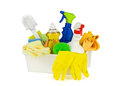 Cleaning supplies household in a box isolated on pure white background Stock Photography