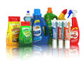 Cleaning supplies household chemical detergent bottles on white background Royalty Free Stock Image