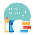 Cleaning supplies and household equipment tools. Janitorial service vector icons set.