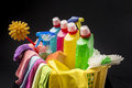 Cleaning supplies and tools in basket Royalty Free Stock Photo