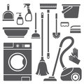 Cleaning symbols set of on white background Stock Photos