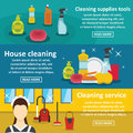 Cleaning tools banner horizontal set, flat style