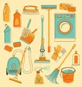 Cleaning tools in doodle style