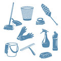 Cleaning tools in a home,contoured shape, silhouette