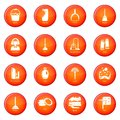 Cleaning tools icons set red vector Royalty Free Stock Photo