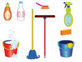 Cleaning tools a set of icons Royalty Free Stock Images