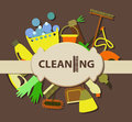 Cleaning tools vector illustration of various and objects Stock Photo