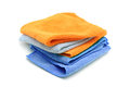 Cleaning towels pile of colorful microfiber isolated on a white background Royalty Free Stock Photos