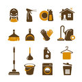 Cleaning vector icons editable set Royalty Free Stock Photos