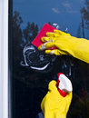 Cleaning window Royalty Free Stock Images
