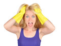 Cleaning Woman Chore Scare Stock Images