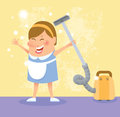 Cleaning woman the color illustration Royalty Free Stock Photos