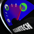 Cleantech power energy gauge new renewable resource business word on a and leaf icon to illustrate an innovative that harnesses Royalty Free Stock Photos