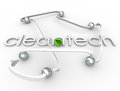 Cleantech word renewable power energy resource business in d white letters surrounded by arrows and spheres and a green leaf ball Stock Image