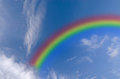 Clear blue sky with white cloud and rainbow Royalty Free Stock Photo