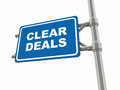 Clear deals words over a road sign indicating transparency and clarity in dealings Stock Photos