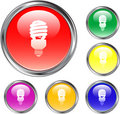 Clear Fluorescent Light Bulb Button Stock Photography