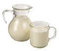 Clear glass jug and mug of milk Royalty Free Stock Photo