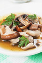 Clear mushroom soup Stock Images