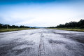 Clear old road runway and cloudy blue sky abandon usually use for people to run as exercise Stock Image