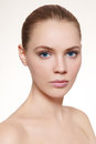 Clear skin portrait of young beautiful girl with clean make up Royalty Free Stock Photos