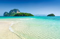 Clear water and blue sky beach in krabi province thailand Royalty Free Stock Photography