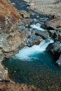 Clear water in the rugged mountain river Royalty Free Stock Image