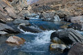 Clear water in the rugged mountain river outdoors Royalty Free Stock Photo