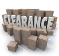 Clearance sale inventory boxes stockroom the word surrounded by cardboard and packages in a storeroom or an overstock supply of Stock Photography