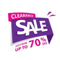 Clearance Sale purple pink 70 percent heading design for banner Royalty Free Stock Photo